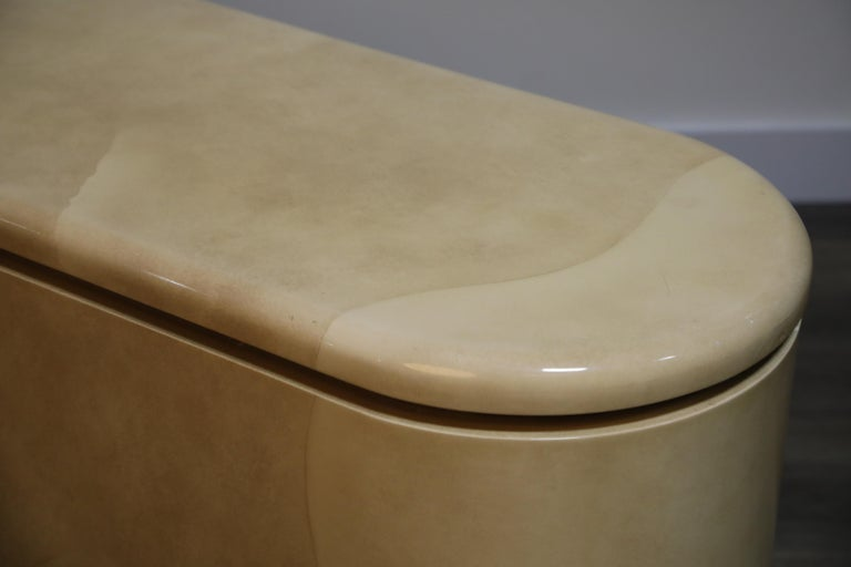 Lacquered Goatskin with Brass Detail Sideboard Style of Karl Springer, 1970s For Sale 12