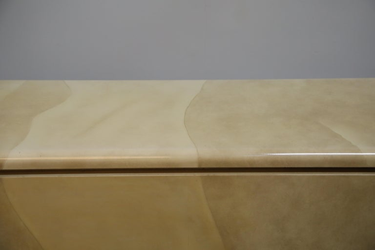 Lacquered Goatskin with Brass Detail Sideboard Style of Karl Springer, 1970s For Sale 14