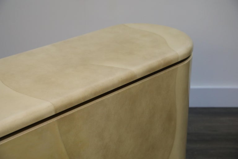 Lacquered Goatskin with Brass Detail Sideboard Style of Karl Springer, 1970s For Sale 15
