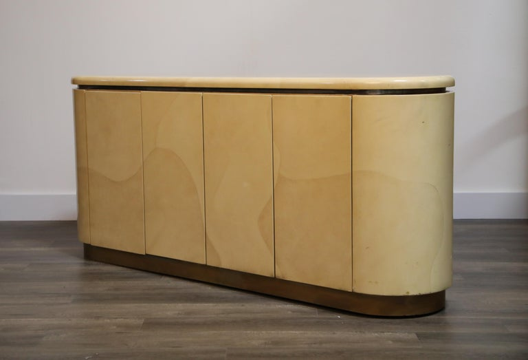 American Lacquered Goatskin with Brass Detail Sideboard Style of Karl Springer, 1970s For Sale
