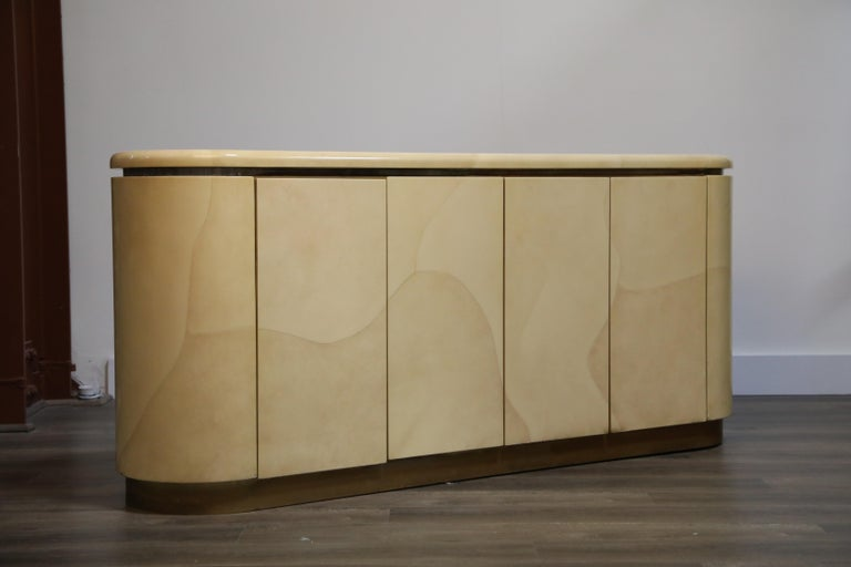 Lacquered Goatskin with Brass Detail Sideboard Style of Karl Springer, 1970s In Good Condition For Sale In Los Angeles, CA