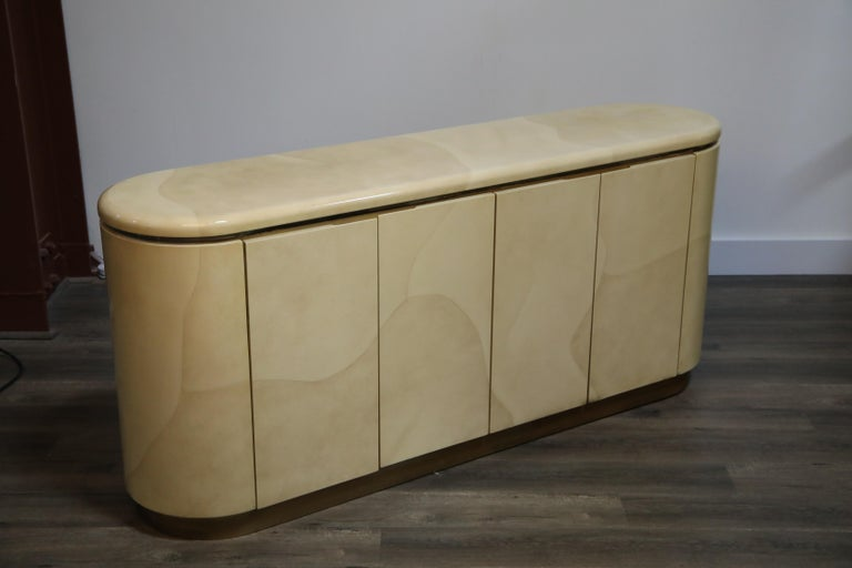 Lacquered Goatskin with Brass Detail Sideboard Style of Karl Springer, 1970s For Sale 3