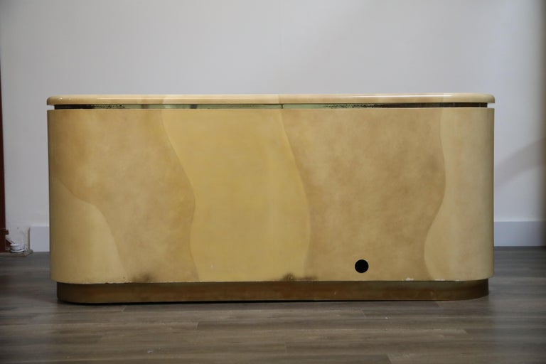 Lacquered Goatskin with Brass Detail Sideboard Style of Karl Springer, 1970s For Sale 4