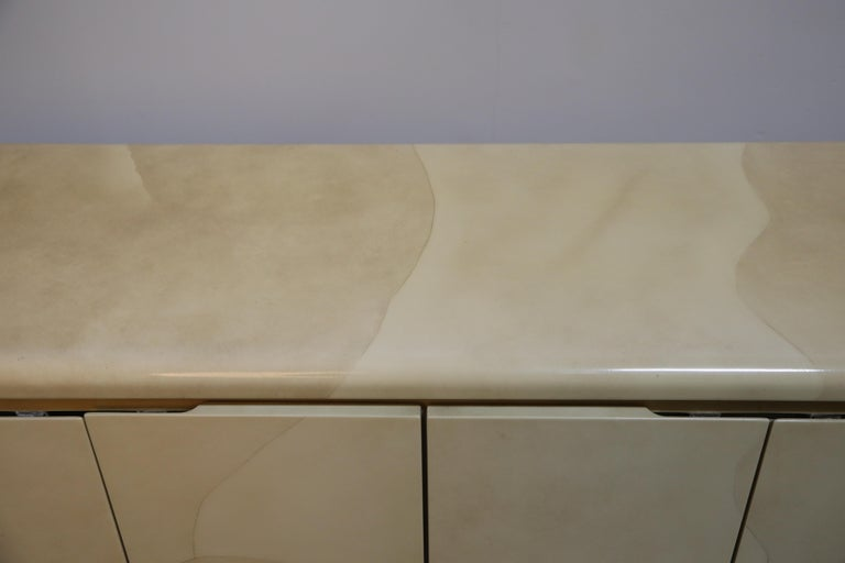 Lacquered Goatskin with Brass Detail Sideboard Style of Karl Springer, 1970s For Sale 5