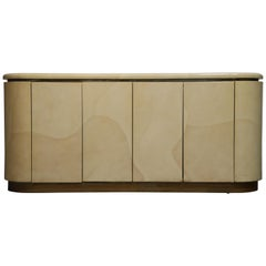 Lacquered Goatskin with Brass Detail Sideboard Style of Karl Springer, 1970s