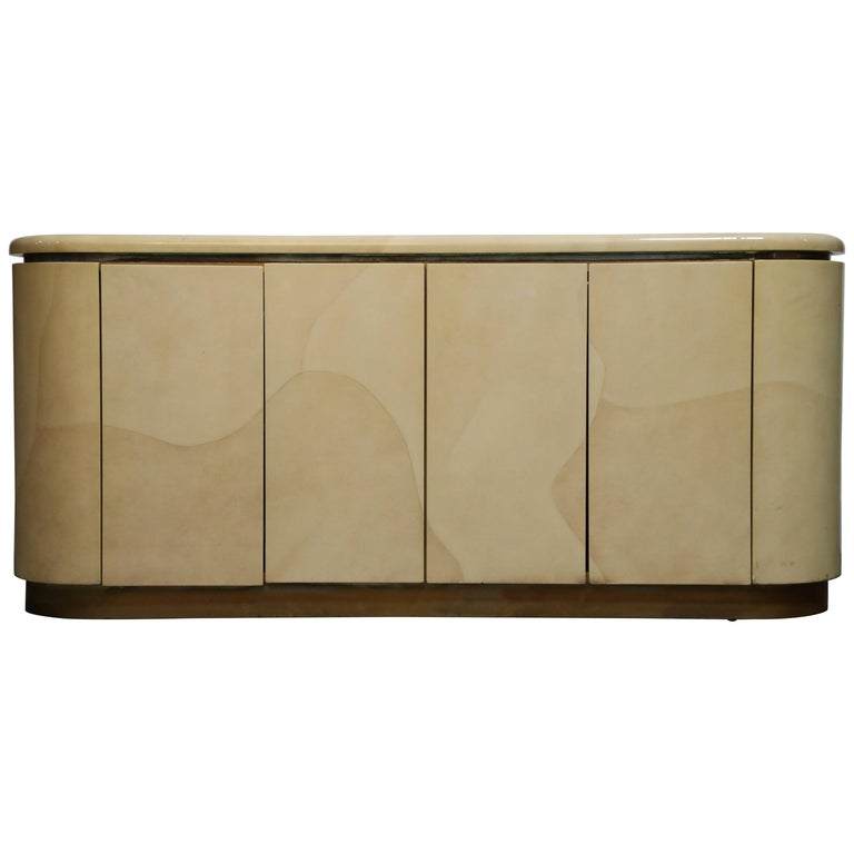 Lacquered Goatskin with Brass Detail Sideboard Style of Karl Springer, 1970s For Sale