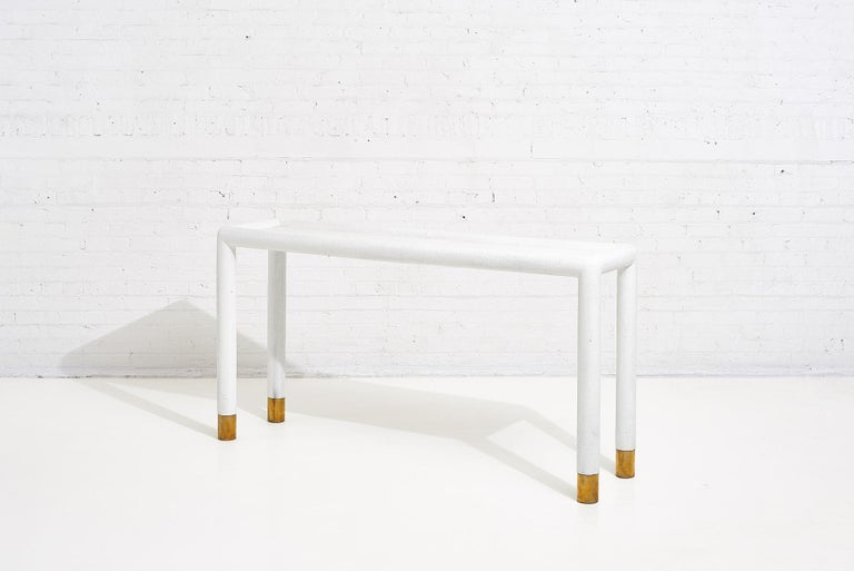Modern Lacquered Grasscloth and Brass Console Table, 1970's For Sale