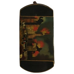 Lacquered Hamburg Fire Scene Victorian Style Wood Dutch Snuff Box
