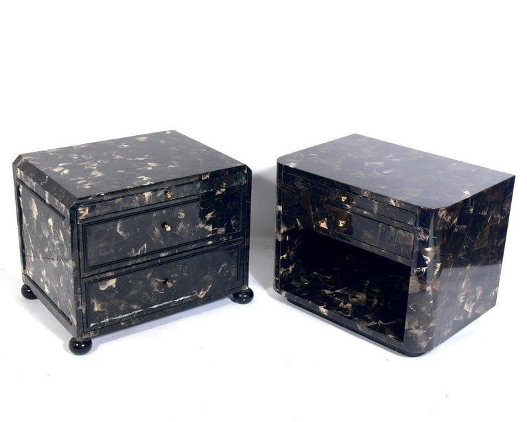 *The one seen on the right has been sold.   Lacquered horn nightstand or end table, American, circa 1980s. It is constructed of lacquered horn with beautiful color and graining. It is a versatile size and can be used as a nightstand, or as a side or