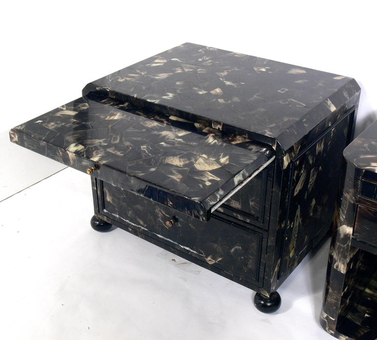 American Lacquered Horn Nightstand or End Table For Sale