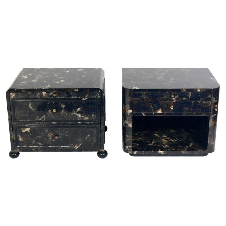 Lacquered Horn Nightstand or End Table For Sale