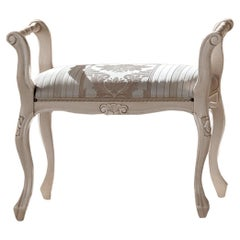 Lacquered Ivory Neoclassical-Inspired Bed Bench by Modenese Interiors