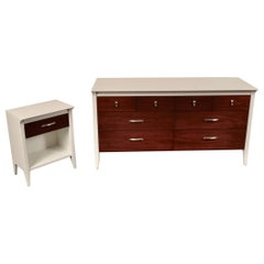 Lacquered Low Dresser and Nightstand by Drexel
