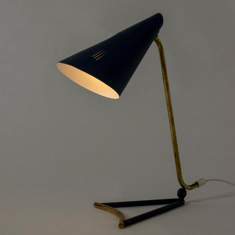 Danish Lacquered Metal Table Lamp by Knud Joos for Lyfa, Denmark, 1950s For Sale