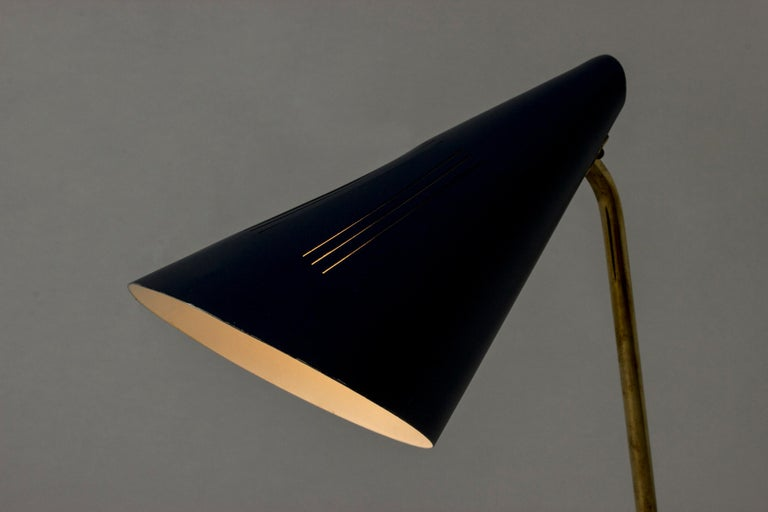 Brass Lacquered Metal Table Lamp by Knud Joos for Lyfa, Denmark, 1950s For Sale