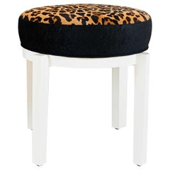Lacquered Ottoman Stool with Leopard Printed Calfskin and Animal Embossed Velvet