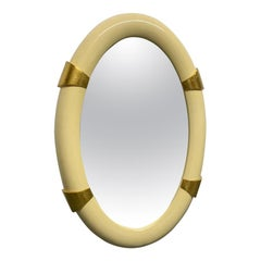 Lacquered Oval Mirror with Gold Leaf Accents