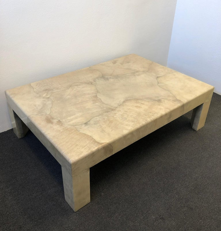 Modern Lacquered Parchment Goatskin Cocktail Table by J. Robert Scott For Sale