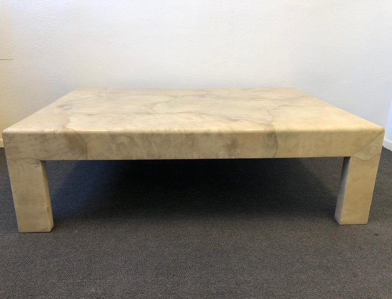 Lacquered Parchment Goatskin Cocktail Table by J. Robert Scott In Good Condition For Sale In Palm Springs, CA
