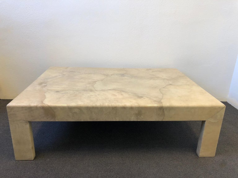 Late 20th Century Lacquered Parchment Goatskin Cocktail Table by J. Robert Scott For Sale