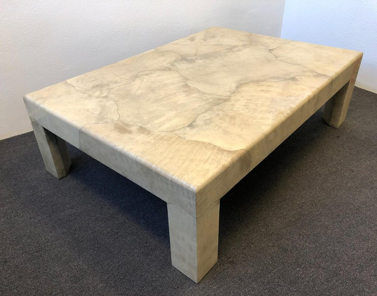 Lacquered Parchment Goatskin Cocktail Table by J. Robert Scott For Sale 3