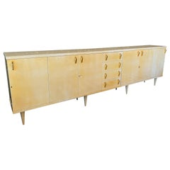 Lacquered Parchment Sideboard by Aldo Tura Italy, 1960s