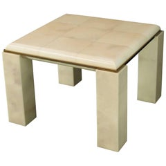 Lacquered Parchment Solid Brass Edge Trim Square Side Occasional Coffee Table