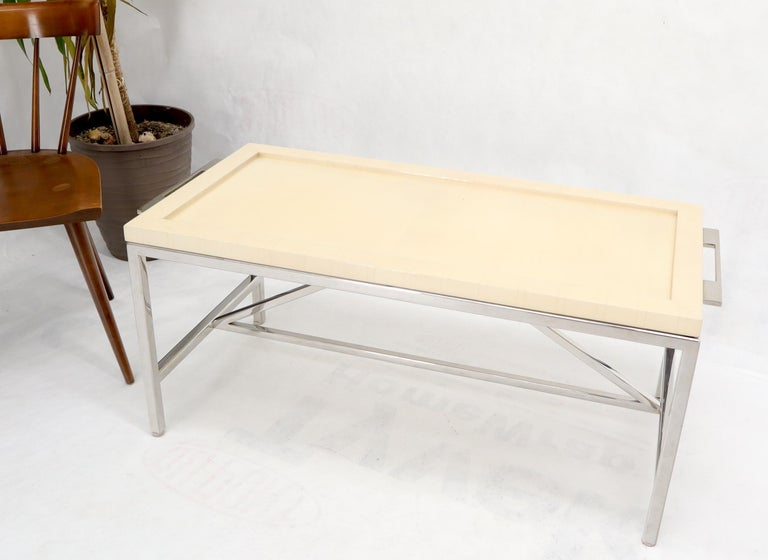 Lacquered Parchment Tray Stainless Steel Base Coffee Table In Excellent Condition For Sale In Rockaway, NJ