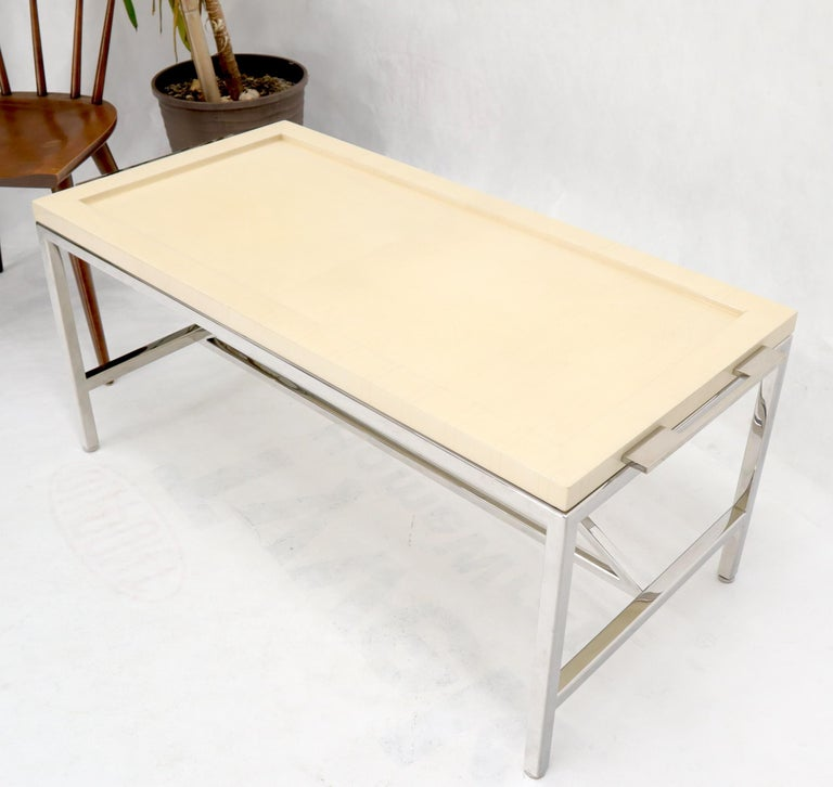 20th Century Lacquered Parchment Tray Stainless Steel Base Coffee Table For Sale