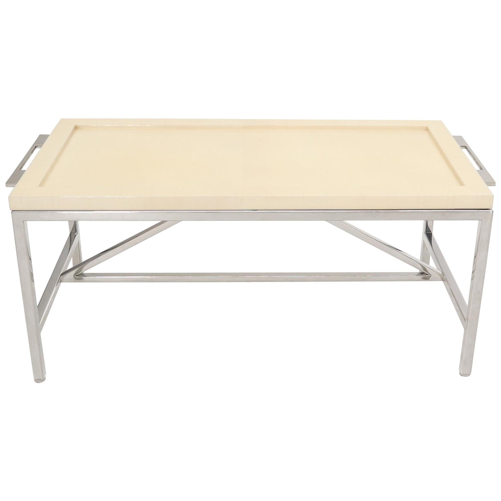 Lacquered Parchment Tray Stainless Steel Base Coffee Table