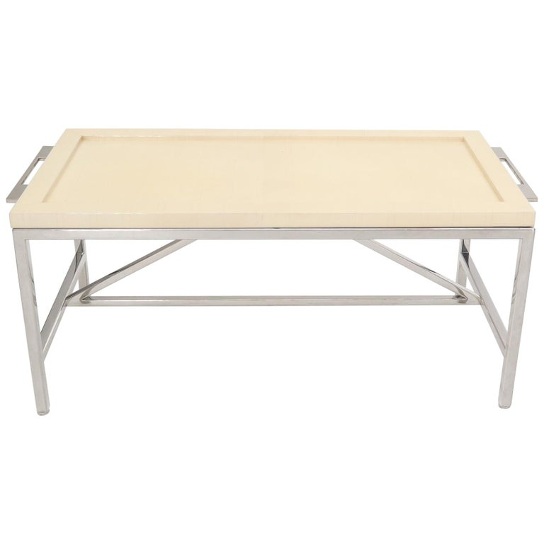 Lacquered Parchment Tray Stainless Steel Base Coffee Table For Sale