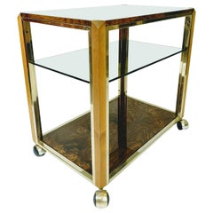 Lacquered Poplar Root and Brass Trolley, with Smoke Glass Shelf, 1970s