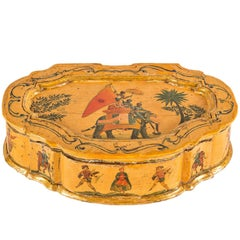 Lacquered Shaped Box with Exotic Motifs, Venice, 18th Century