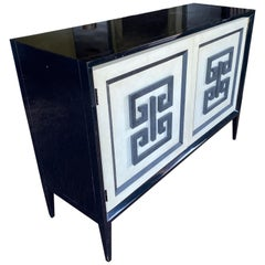 Lacquered Side Board Cabinet with Classic Door Design