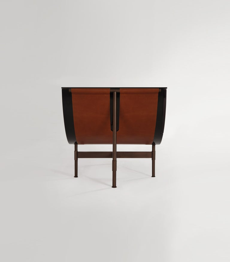 Mexican Lacquered Side Table with Leather and Patinated Steel by VIDIVIXI For Sale