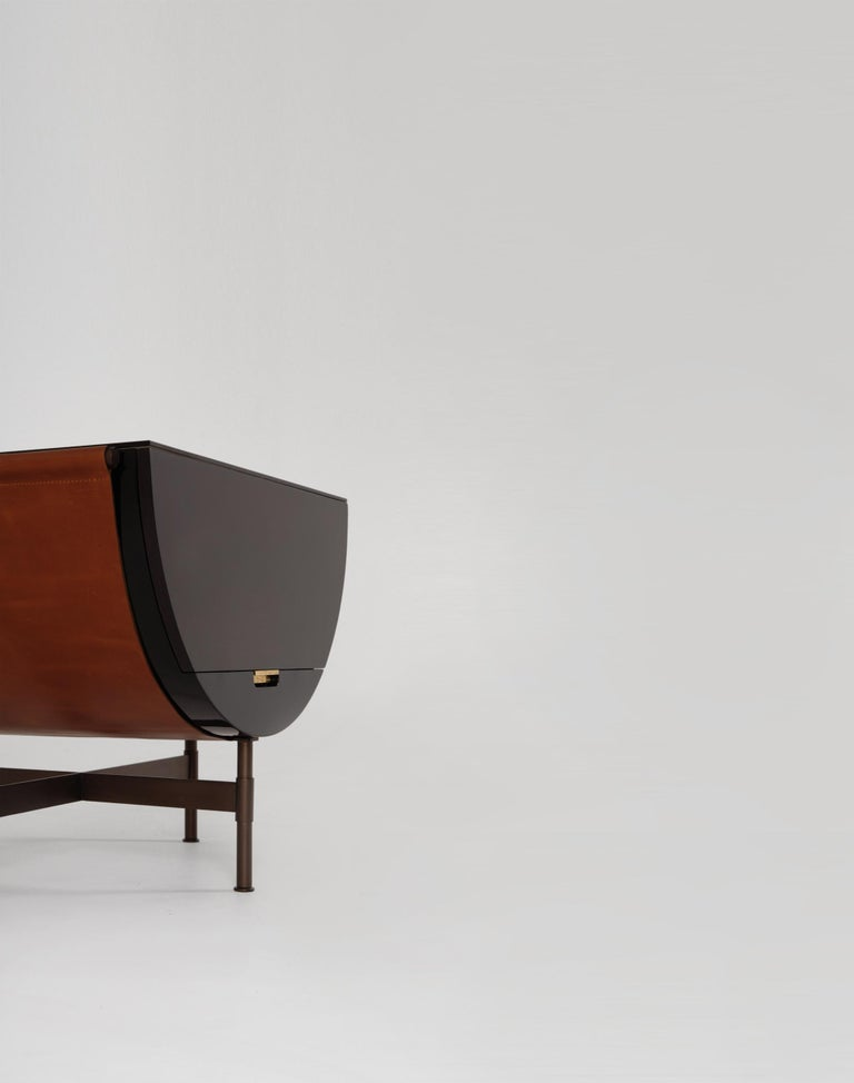 Machine-Made Lacquered Side Table with Leather and Patinated Steel by VIDIVIXI For Sale