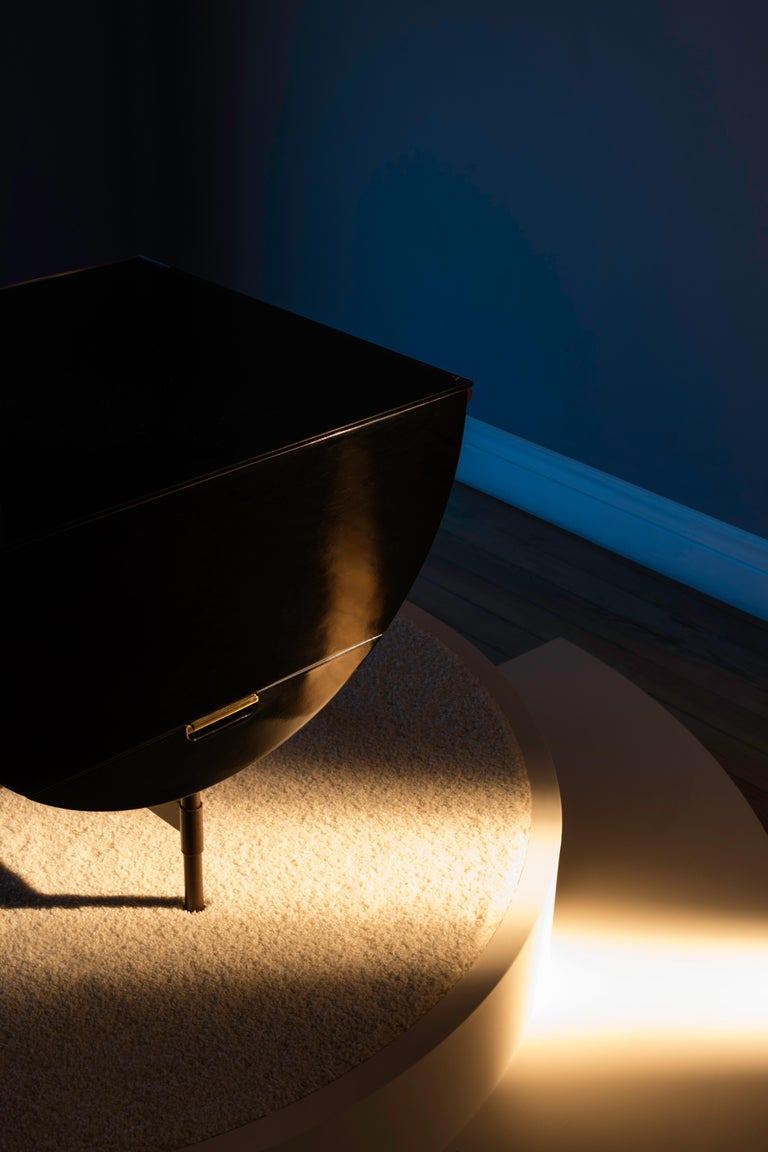 Brass Lacquered Side Table with Leather and Patinated Steel by VIDIVIXI For Sale