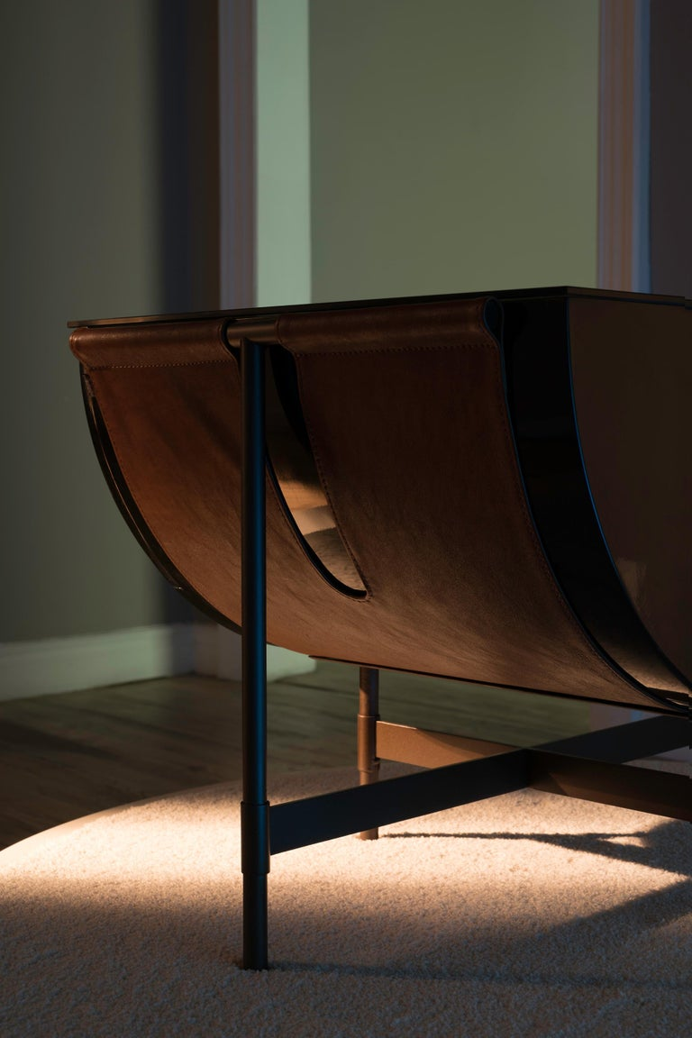 Lacquered Side Table with Leather and Patinated Steel by VIDIVIXI For Sale 1