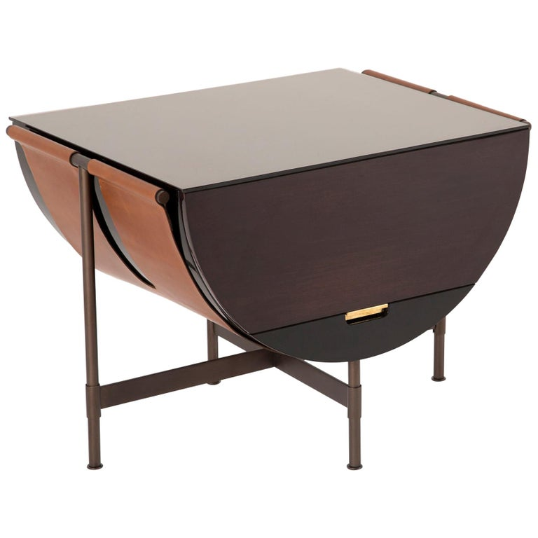 Lacquered Side Table with Leather and Patinated Steel by VIDIVIXI For Sale