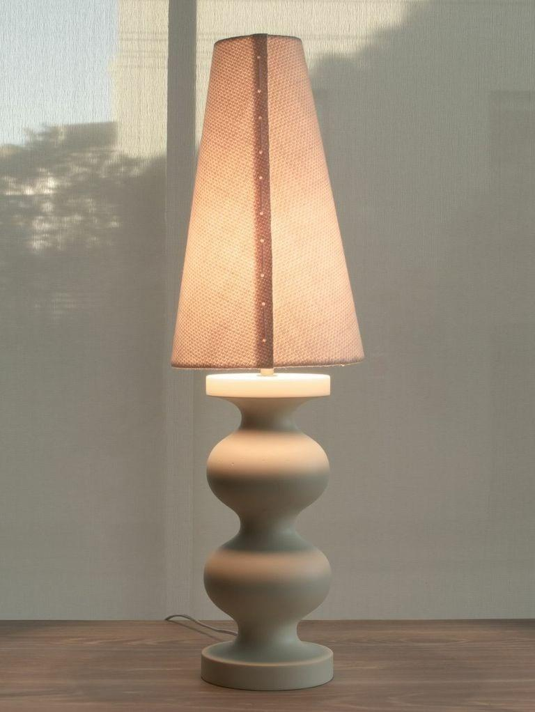 Contemporary Lacquered Soft Black Organic Modern Table Lamp, Double Frank by Wende Reid For Sale