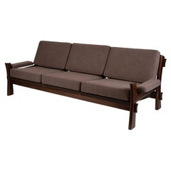 Lacquered Solid Oak & Grey Upholstered Danish Sofa