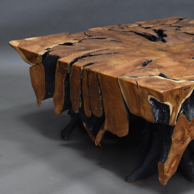 Lacquered Teak Root Square Coffee Table For Sale 10