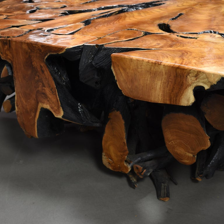Lacquered Teak Root Square Coffee Table For Sale 12