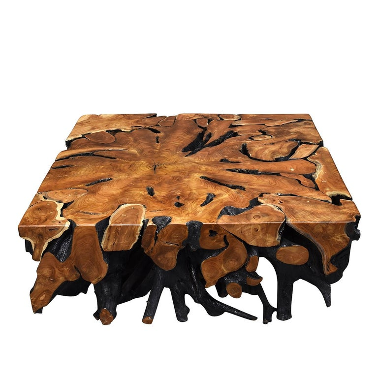 Italian Lacquered Teak Root Square Coffee Table For Sale