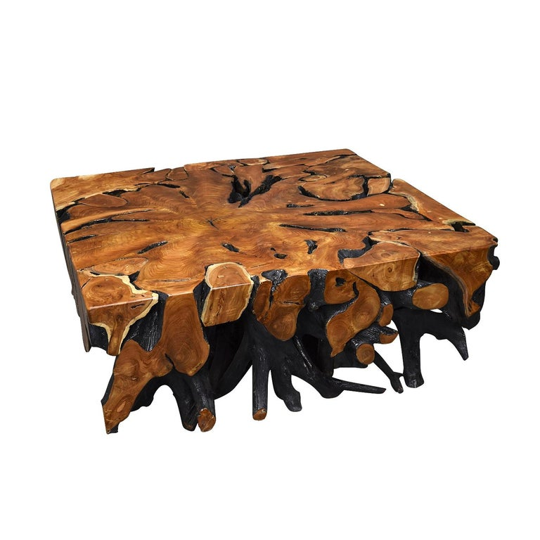 Lacquered Teak Root Square Coffee Table In Excellent Condition For Sale In Pijnacker, Zuid-Holland