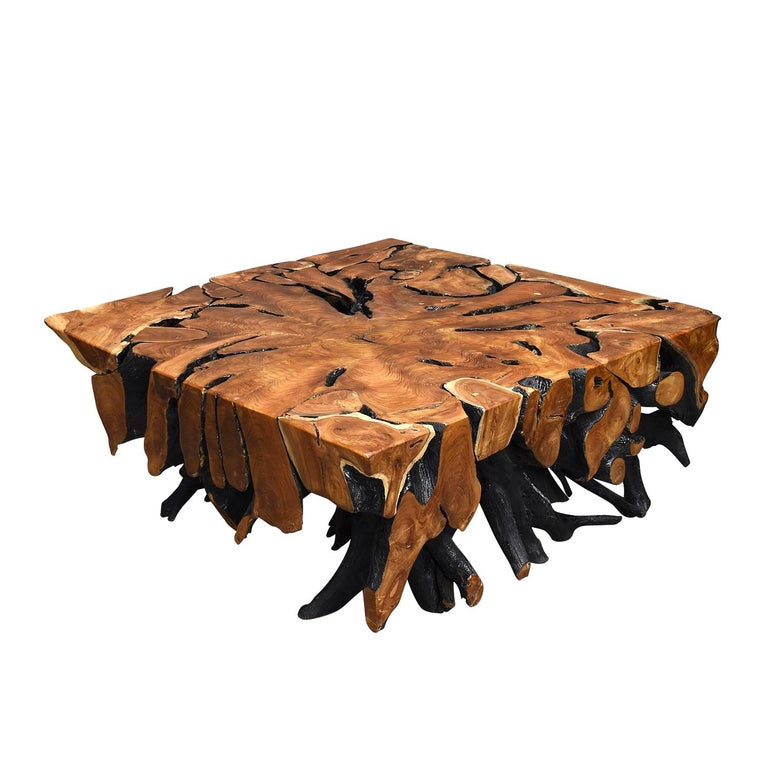 20th Century Lacquered Teak Root Square Coffee Table For Sale
