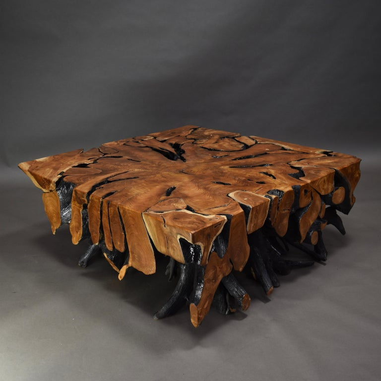 Lacquered Teak Root Square Coffee Table For Sale 1