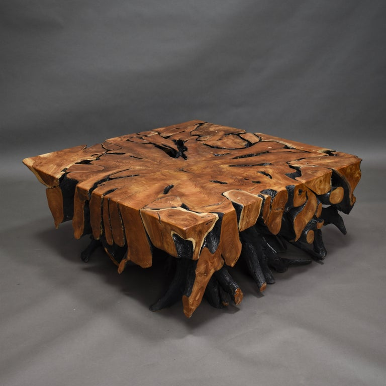 Lacquered Teak Root Square Coffee Table For Sale 2