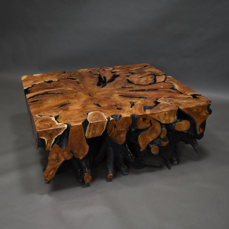 Lacquered Teak Root Square Coffee Table For Sale 3