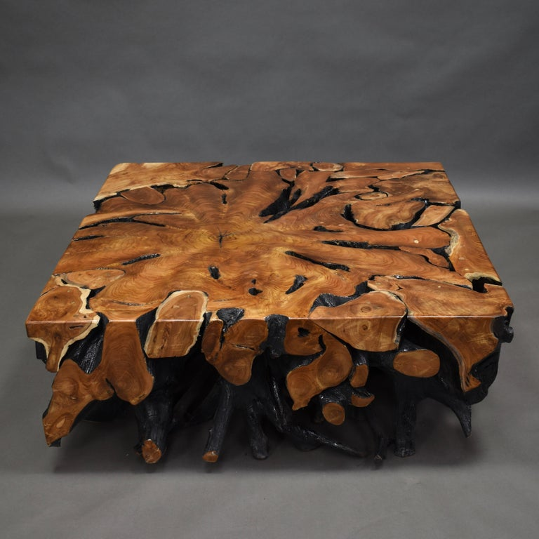Lacquered Teak Root Square Coffee Table For Sale 4